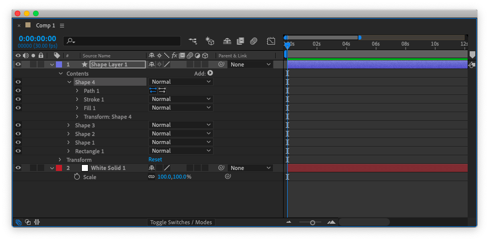 Shape Layer 中包含多個圖形時,編輯較不方便