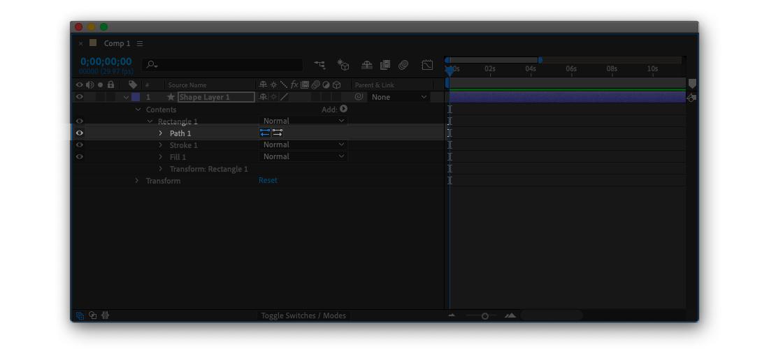 轉換後,Shape Layer 也會變成可編輯的貝茲曲線